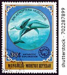 Small photo of CROATIA ZAGREB, 20 AUGUST 2017: a stamp printed in Mongolia shows Giant Blue Whale, Balaenoptera Musculus, is a Marine Mammal, circa 1980