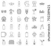 beer bottle icons set. outline... | Shutterstock .eps vector #702289621