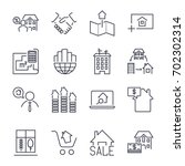 web icon set  real estate ... | Shutterstock .eps vector #702302314