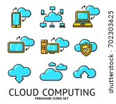set of cloud computing icons.... | Shutterstock .eps vector #702303625