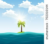 palm and blue sea background... | Shutterstock .eps vector #702310144