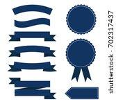 flat blue vector ribbons | Shutterstock .eps vector #702317437
