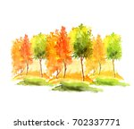 watercolor autumn trees and... | Shutterstock . vector #702337771