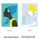 pisces and aries female...   Shutterstock .eps vector #702343759