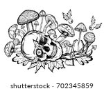 halloween. vector illustration. ... | Shutterstock .eps vector #702345859