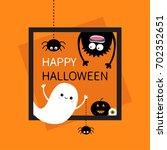 happy halloween card. square... | Shutterstock .eps vector #702352651