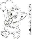 Stock vector coloring page outline of cartoon kitten with ice cream and air balloons vector illustration 702353119