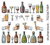 set of alcoholic symbols.... | Shutterstock .eps vector #702367489