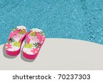 Pink Flowered Flip Flops By A...