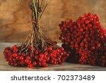 viburnum berries on the wooden... | Shutterstock . vector #702373489