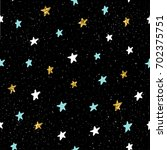 doodle star seamless pattern... | Shutterstock . vector #702375751