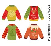 set of four cute winter... | Shutterstock .eps vector #702376021