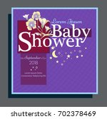baby arrival card with blue... | Shutterstock .eps vector #702378469