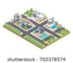 modern luxury isometric green... | Shutterstock .eps vector #702378574