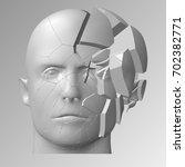 raster version. broken head  3d ... | Shutterstock . vector #702382771