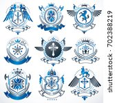 collection of heraldic... | Shutterstock . vector #702388219