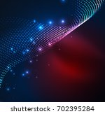 wave particles background   3d ... | Shutterstock . vector #702395284