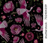 crane bird  flowers  rose  rose ... | Shutterstock .eps vector #702404359