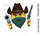 smiley of cowboy bandit with a... | Shutterstock .eps vector #702406789