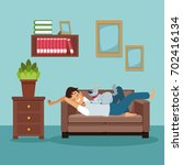 Stock vector colorful scene man sleep in sofa with dog pet 702416134