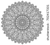 mandala. black and white round... | Shutterstock .eps vector #702417331