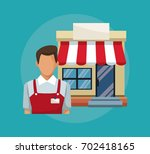 color background with salesman... | Shutterstock .eps vector #702418165