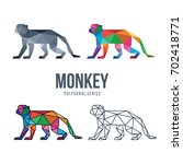 animal low poly logo icon... | Shutterstock .eps vector #702418771