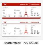 red boarding pass with eiffel... | Shutterstock .eps vector #702423301