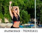 physical activity belt fitness... | Shutterstock . vector #702431611