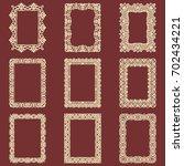 set of rectangular vintage...   Shutterstock .eps vector #702434221
