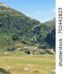 Small photo of Scenic Alpine rocky alpine valley of Sportgastein in summer. Picturesque mountain pasture lands, great mountain massif and sunny weather. Sport hiking landscape background.