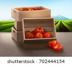 a wooden crate on the table...   Shutterstock .eps vector #702444154