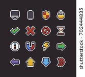 set of sixteen pixel art 8 bit...