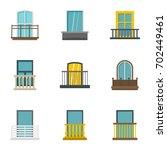 exterior balcony icon set. flat ...   Shutterstock .eps vector #702449461