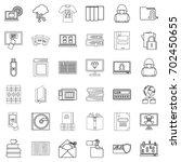 bookmark icons set. outline... | Shutterstock .eps vector #702450655