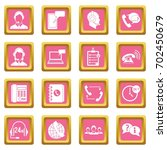 call center symbols icons set... | Shutterstock .eps vector #702450679