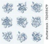 abstract isometrics backgrounds ... | Shutterstock . vector #702455479