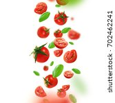 cherry tomatoes and leaves... | Shutterstock . vector #702462241