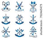 vintage weapon emblems set.... | Shutterstock . vector #702465475
