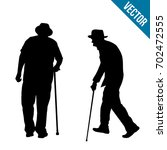 Old People Silhouette On A...