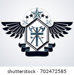 heraldic design  vintage emblem. | Shutterstock . vector #702472585