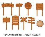 vector set of wooden signboards ... | Shutterstock .eps vector #702476314