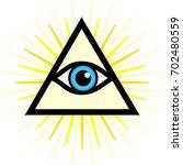 symbol   all seeing eye. sign  ... | Shutterstock . vector #702480559