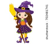 vector cute little witch with... | Shutterstock .eps vector #702481741