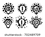 monochrome stylized lightbulbs... | Shutterstock .eps vector #702489709