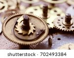 clock gear set. steam punk. old ... | Shutterstock . vector #702493384
