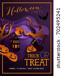 happy halloween poster ... | Shutterstock .eps vector #702495241