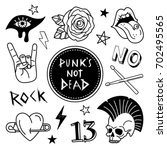 punk patches collection. vector ... | Shutterstock .eps vector #702495565