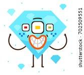 geometric monster  blue diamond ... | Shutterstock .eps vector #702509551