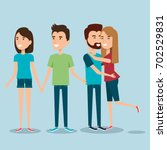 two couples of young people... | Shutterstock .eps vector #702529831